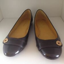 Designer TED BAKER Ballet Flats Shoes Metalic Bronze Patent Leather-Size 41-NEW
