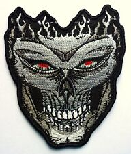 CREEPY SKULL - SEW ON BIKER MOTORCYCLE PATCH 72mm by 88mm