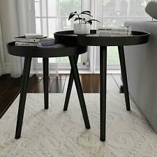 Lavish Home Contemporary Decor and Home Accent Table with Tray Top (Black, Set o