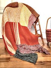 Plaid/Couverture laine au crochet en patchwork fait main Vintage 70