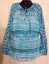 Michael Kors Women's Turquoise Striped Long Sleeve Sheer Shirt Top 12 NWT $120