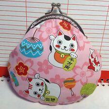 """Lucky cats """"maneki Neko"""" Handmade Kiss Lock Coin Purse (pink)"""