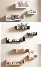 Set of 3 U Shape Floating Wall Shelve Storage Display Shelf White Black Oak Grey