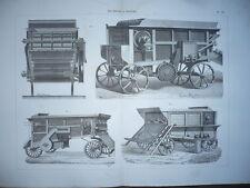 GRAVURE 1880 MATÉRIEL PROCÉDÉS AGRICULTURE MACHINES A BATTRE