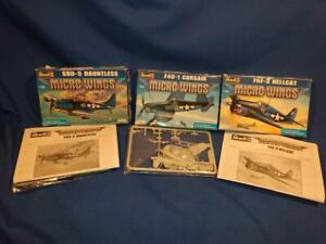 3 Revell Micro Wings Kit: SBD-5 Dauntless, F4U-1 Corsair, F6F-3 Hellcat, 1/144