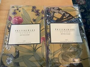 Pair (2) POTTERY BARN Brynne Shams EURO Size Cotton Linen Floral NEW