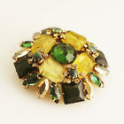 """Schreiner Brooch HUGE Pin with Inverted Stones, Yellow Green, """"Flawed"""" Look VTG"""