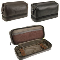 Mens Womens Soft Genuine Leather Wash Toiletry Bag Zipped Pockets Black Brown