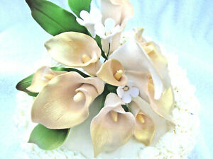 Gum Paste Custom Gold & White Calla Lilies Stephanotis Sugar Cake Topper