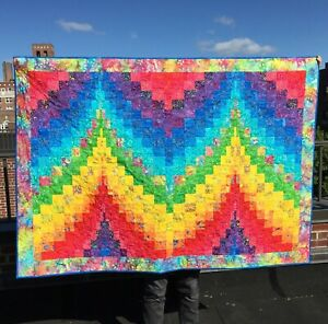 "Handmade Rainbow Batik Bargello Peaks Quilt 64""x46"""
