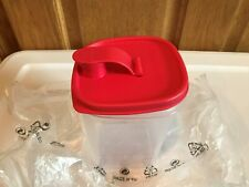 TUPPERWARE NEW 1 LITRE SLIM LINE PITCHER SHEER CONTAINER WITH RED TOP AND SEAL