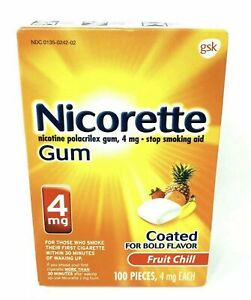 Nicorette 4 mg Nicotine Gum, Fruit Chill 100 Count- Stop Smoking Now! EXP 2023