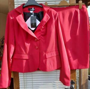 BNWT Class International red skirt & jacket suit size 14 (eur 40)
