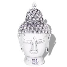 Buddha Head Decoration Statue Ornament Aluminium Silver Gift 18x18x38cm