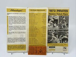 RARE PITTSBURGH PIRATES 1973 SEASON TICKET PLAN BROCHURE + May 30, 1973 Stub!!