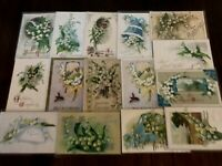 Pretty Lot of 16 Vintage Greetings Postcards w. Lily of the Valley Flowers-b915