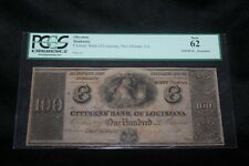 1800's $100 Obsolete PCGS 62 New Plate A Citizens Bank Of Louisiana New Orleans