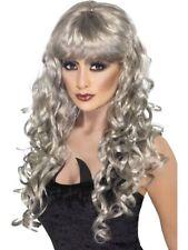 Plata Largo Rizado Mujer Peluca Para Disfraz Brujas Accesorio de disfraz