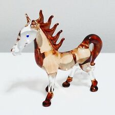 Brown Horse Animal Figurine Hand Paint Blown Glass Home Decor Collectible Gift