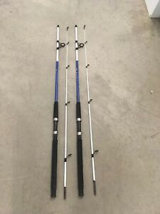 2 Shakespeare Tiger Spinning Rods 7' Fresh/Saltwater Catfish/Trolling MH BLUE