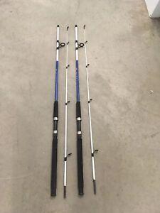 2 Shakespeare Tiger Spinning Rods 7' Fresh/Saltwater Catfish/Trolling Med BLUE