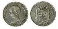 pcc1840_32) SPAGNA 5 PESETAS 1891   ALFONSO XIII