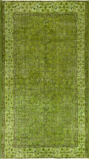 4x6.7 Ft Green Color OVERDYED Handmade Vintage Turkish Rug k159