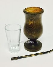 Copper Bombilla Straw and Wooden with Glass Cup  Mate Paraguay Tea Yerba