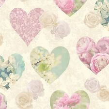 NOVELTY VINTAGE PINK HEARTS FLORAL FLOWER ROSES WALLPAPER FINE DECOR FD41912
