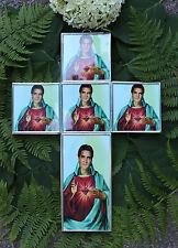 Elvis Presley Glass Tin Cross Wall Decor Elvis and Sacred Heart Mexican Folk Art