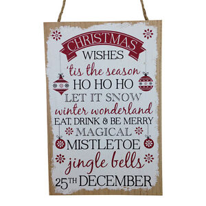 Ho Ho Ho Christmas Wishes Wooden Hanging Sign Decoration Door Wall 30 cm