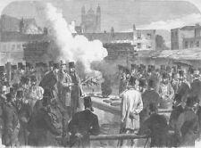 LONDON. Wind. Test to make gunpowder inert, antique print, 1865