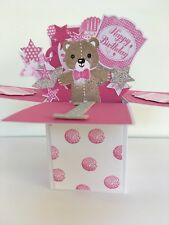 Handmade Pop Up Card In a Box Personalise 1st Birthday Age 1