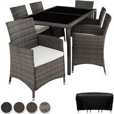 Conjunto de ratán muebles de jardín Mesa 6 Sillas Comedor Patio al Aire Libre Mimbre Nueva