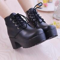 Women Chunky Heel Punk Round Toe Platform Lace Up Goth Creeper Ankle Boots Shoes