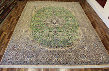 FINE PERSIAN NAIN RUG WOOL & SILK WITH FLORAL DESIGN 390 X 290 CM