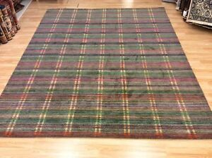 Grey Multi Coloured Striped Handwoven Wool Sitting Room Rug XXL 249x304cm 60%OFF
