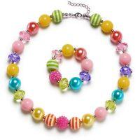 Rainbow Little Girls Chunky Bubblegum Necklace & Bracelet Set Kids Gift Jewelry