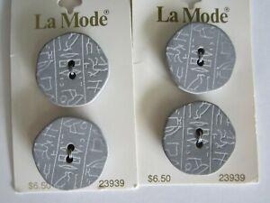 "La Mode Buttons #23939 Grey 2 hole Hieroglyphic theme 10 Carded 1-1/8"""