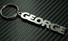 GEORGE Personalised Name Keyring Keychain Key Fob Bespoke Stainless Steel Gift