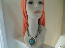 """Huge Authentic Tibetan Silver Turquoise Necklace 11.5"""" long"""