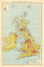 1942 MAP CHART ~ BRITISH ISLES POPULATION ~ LONDON MANCHESTER SCOTLAND IRELAND