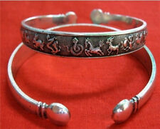 "Long Thick Tibetan Copper Delicately Carved 12 Zodiac Animal Cuff Bracelet -7"""