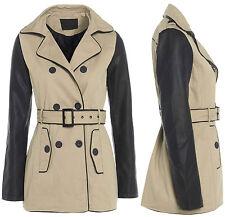 Size 8 10 12 14 16 Women's MAC Ladies TRENCH JACKET COAT Beige PU MAC Leather