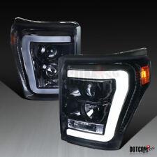 Glossy Black 2011-2016 Ford F250 F350 Super Duty LED Bar Projector Headlights
