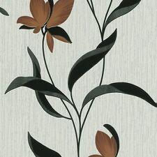 MARRONE FIORE NERO FOGLIA paillettes Fleur floreale carta da parati ruvida