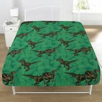 JURASSIC PREDATORS DINOSAUR SINGLE FITTED SHEET BEDROOM GREEN CHILDRENS