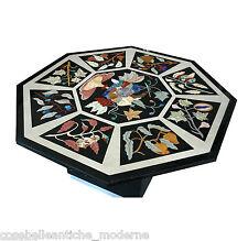 Table octogonal en marbre Noir e incrusté Pierres Semi-précieuses Old Classic