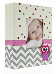 """Beige/Pink Slip In Photo Album 300 6"""" x 4"""" Photos Baby Girl Keepsake Gift"""
