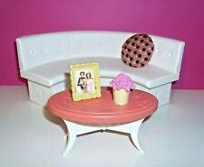 %***Barbie Möbel*Große runde Sitzbank*Tisch,Zubehör***%